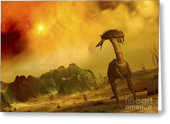 Velociraptor Greeting Cards - Artists Concept Of An Alien Planet Greeting Card by Walter Myers