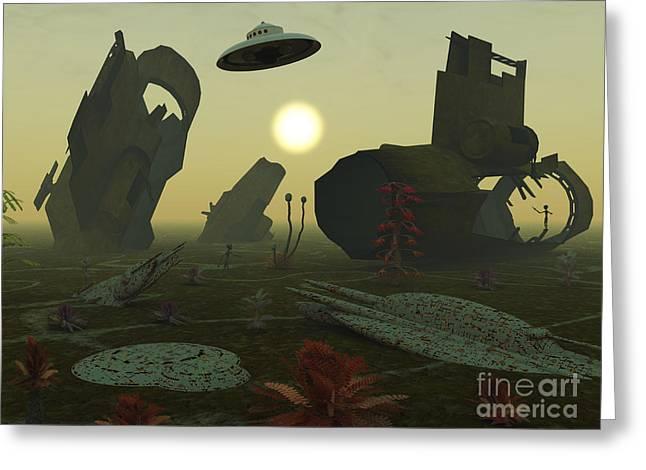 Artists Concept Of An Alien Scrap Yard Greeting Card by Mark Stevenson