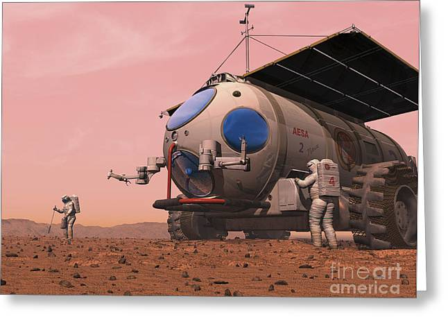 Artists Concept Of How A Martian Greeting Card by Walter Myers