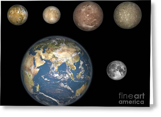 Spheroid Greeting Cards - Artists Concept Of Jupiters Four Greeting Card by Walter Myers