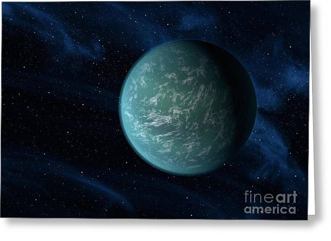 Terrestrial Sphere Greeting Cards - Artists Concept Of Kepler 22b, An Greeting Card by Stocktrek Images