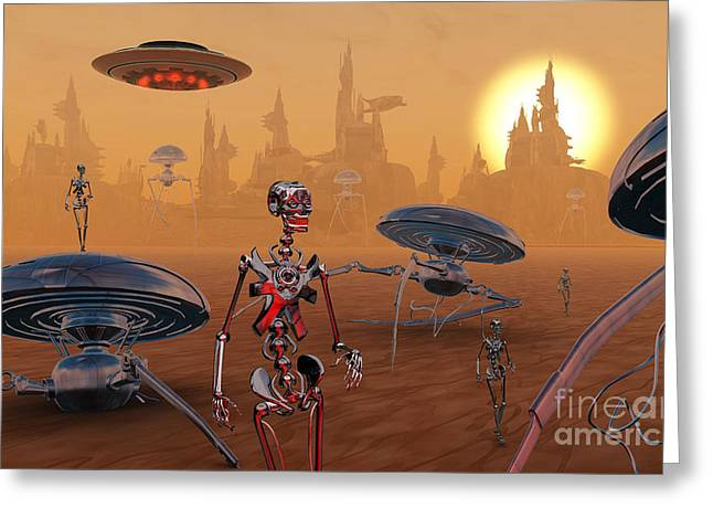 Robotic Life Greeting Cards - Artists Concept Of Life On Mars Long Greeting Card by Mark Stevenson