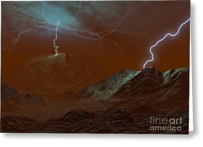 Images Lightning Digital Art Greeting Cards - Artists Concept Of Lightning In Venus Greeting Card by Walter Myers