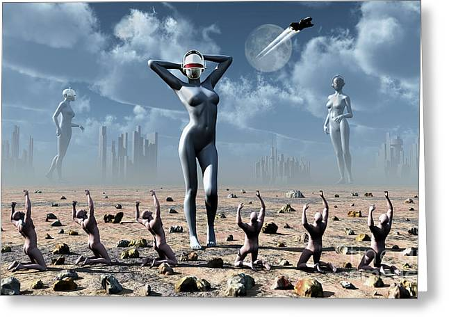 Knelt Digital Greeting Cards - Artists Concept Of Mankinds Reliance Greeting Card by Mark Stevenson