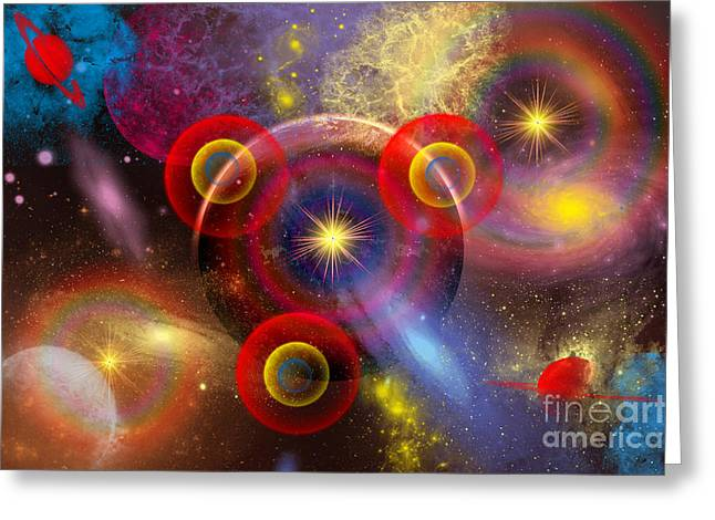 Portal Digital Greeting Cards - Artists Concept Of Planets And Stars Greeting Card by Mark Stevenson