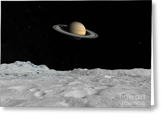 Ring Systems Greeting Cards - Artists Concept Of Saturn As Seen Greeting Card by Walter Myers