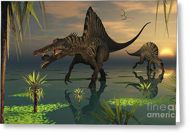 Primeval Greeting Cards - Artists Concept Of Spinosaurus Greeting Card by Mark Stevenson