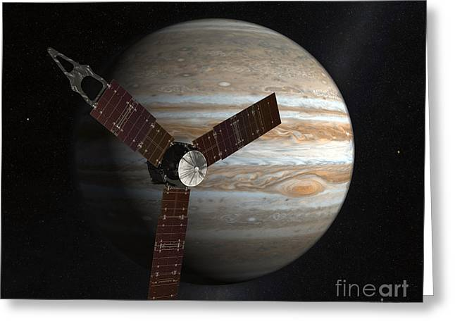 Gas Giant Greeting Cards - Artists Concept Of The Juno Spacecraft Greeting Card by Stocktrek Images