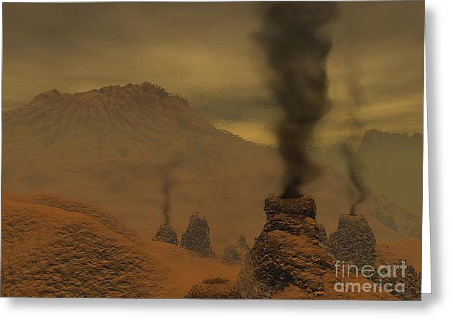 Weathered Rock Face Greeting Cards - Artists Concept Of Volcanic Activity Greeting Card by Walter Myers