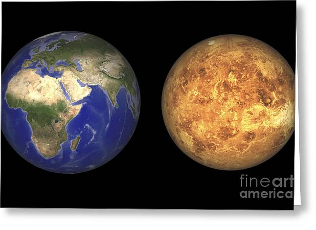Artists Concept Showing Earth And Venus Greeting Card by Walter Myers