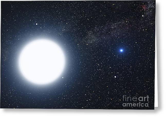 Deneb Greeting Cards - Artists Concept Showing The Binary Star Greeting Card by Stocktrek Images