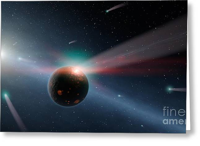 Storm Digital Greeting Cards - Artists Conception Of A Storm Of Comets Greeting Card by Stocktrek Images
