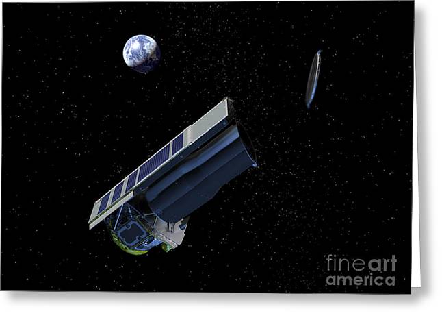 Ejected Greeting Cards - Artists Conception Of Spitzer Ejecting Greeting Card by Stocktrek Images