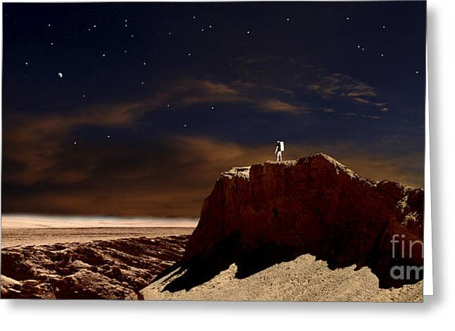 Adults Only Digital Art Greeting Cards - Artists Depiction Of A Lone Astronaut Greeting Card by Frank Hettick