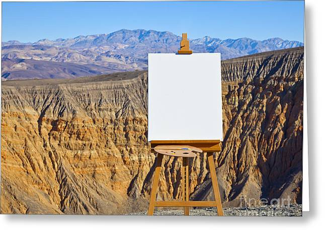 Creativity Desert Greeting Cards - Artists Easel and Canvas in Desert Greeting Card by David Buffington