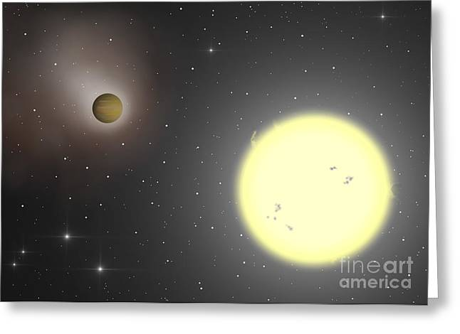 Luminous Globe Greeting Cards - Artists Illustration Of The Extrasolar Greeting Card by Miguel Claro
