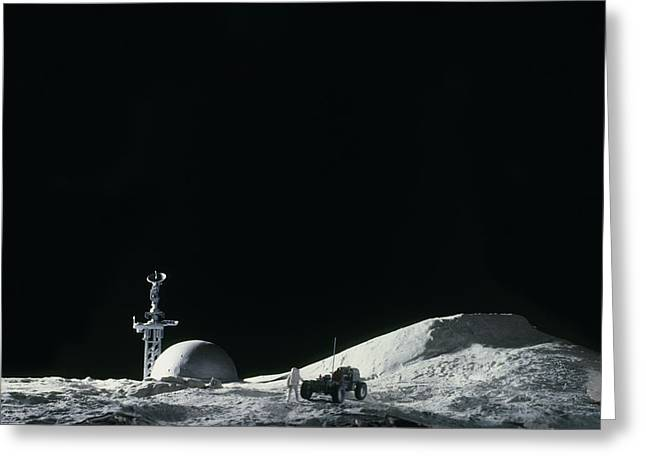 Colonisation Greeting Cards - Artists Impression Of A Manned Moon Base Greeting Card by Julian Baum