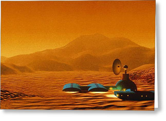 Colonisation Greeting Cards - Artists Impression Of A Mars Base Greeting Card by Julian Baum