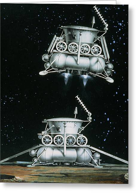 Luna Greeting Cards - Artists Impression Of Luna-17 Landing On The Moon Greeting Card by Ria Novosti