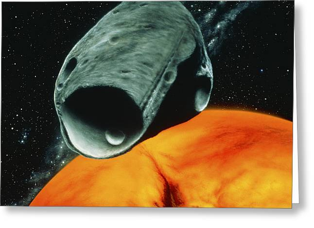 Phobos Greeting Cards - Artists Impression Of The Martian Moon Phobos Greeting Card by Julian Baum