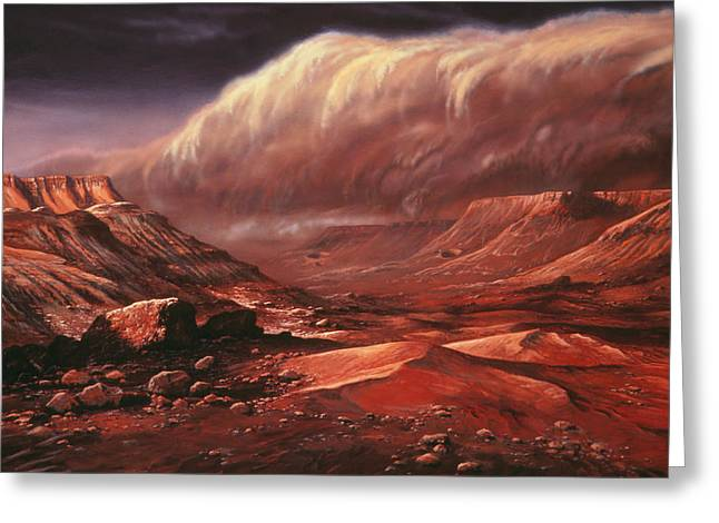 Planet Mars Greeting Cards - Artists Impression Of The Martian Surface Greeting Card by Ludek Pesek