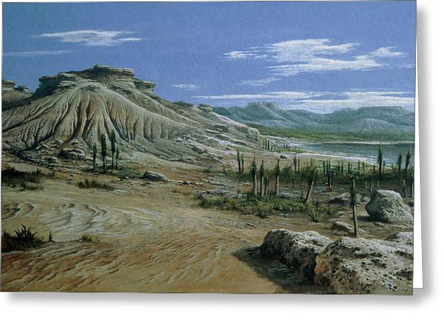 Triassic Greeting Cards - Artists Impression Of Triassic Period Landscape. Greeting Card by Ludek Pesek