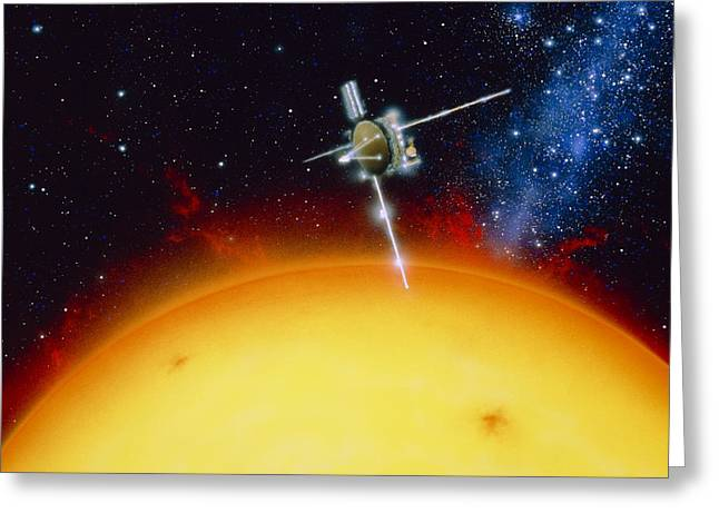 Astronomical Research Greeting Cards - Artists Impression Of Ulysses Approacing The Sun Greeting Card by Julian Baum