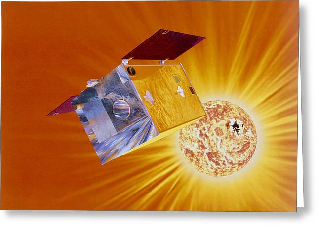 Astronomical Research Greeting Cards - Artists Impression Of Yohkoh Satellite Greeting Card by Julian Baum