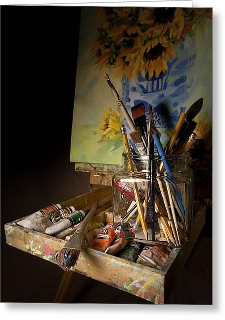 Still Life Photographs Greeting Cards - ArtistStudioEasel Greeting Card by Dapixara Art