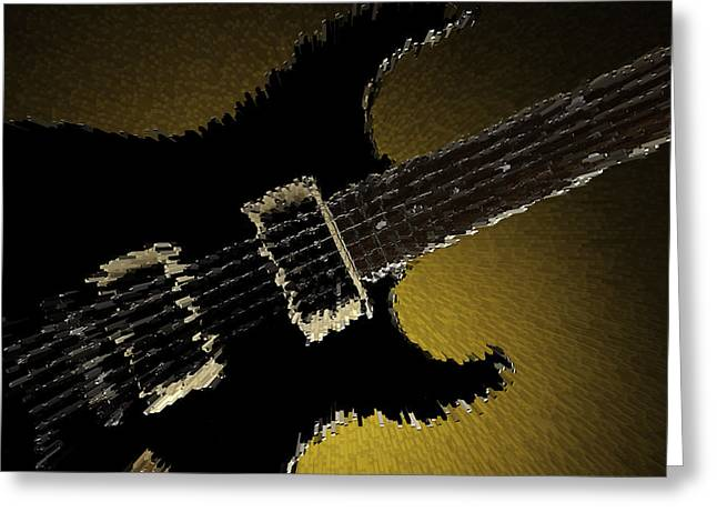 Guitar Pictures Greeting Cards - Artsy Guitar Gold Background Greeting Card by M K  Miller