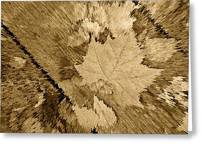 Fallen Leaf Greeting Cards - Artsy Monochrome Antique Leaf Greeting Card by M K  Miller