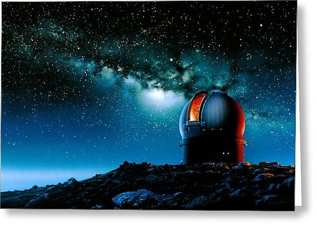 Telescope Dome Greeting Cards - Artwork Based On Mauna Kea Of A Telescope Dome Greeting Card by Detlev Van Ravenswaay