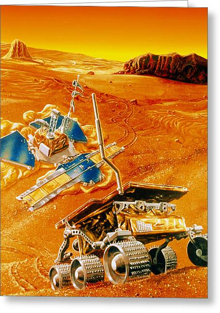 Rover Greeting Cards - Artwork Depicting Mfex Rover On Mars Greeting Card by Nasa
