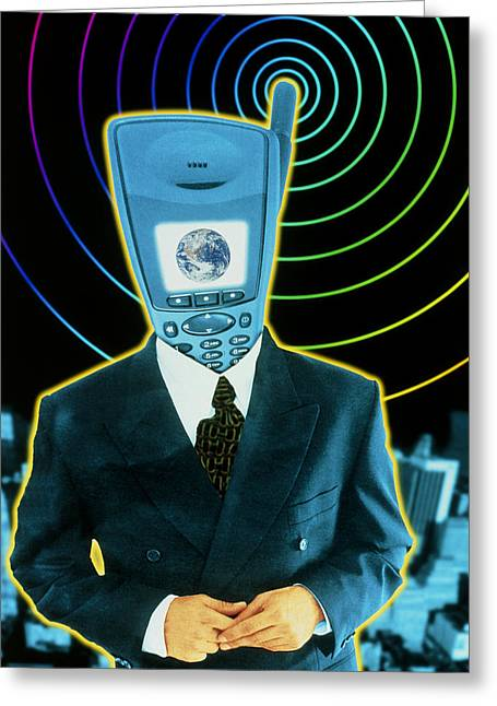Art Mobiles Greeting Cards - Artwork Of A Businessman With A Mobile Phone Head Greeting Card by Victor Habbick Visions