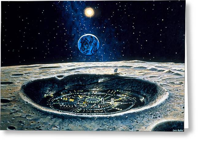 Lunar Base Greeting Cards - Artwork Of A City In A Crater On The Moon Greeting Card by Chris Butler