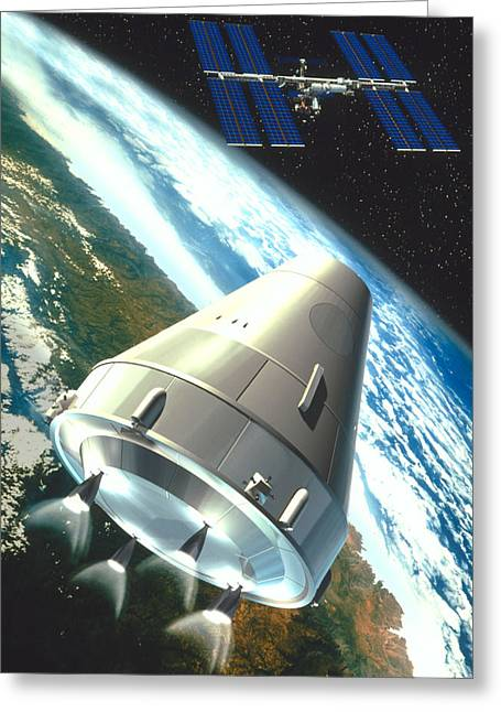 Industrialized Greeting Cards - Artwork Of A Ctv Craft Supplying The Space Station Greeting Card by David Ducros
