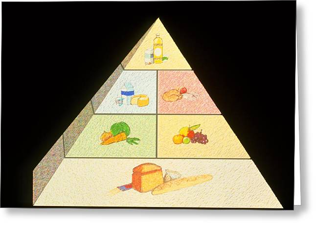 Pyramids Art Greeting Cards - Artwork Of A Food Pyramid For Good Nutrition Greeting Card by David Gifford