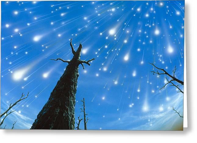 Meteor Greeting Cards - Artwork Of A Meteor Shower Greeting Card by D. Van Ravenswaay