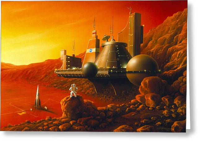 Colonisation Greeting Cards - Artwork Of A Space Colony On The Surface Of Mars Greeting Card by Detlev Van Ravenswaay