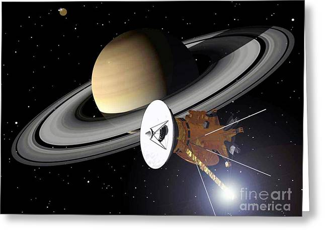 Cassini Greeting Cards - Artwork Of Cassini Approaching Saturn Greeting Card by Nasa