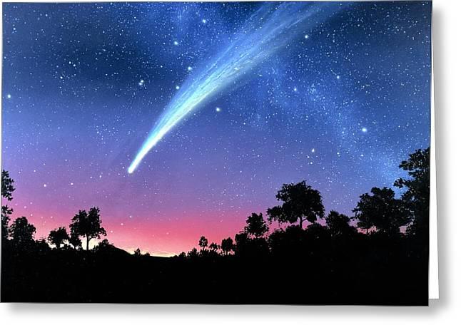Hale-bopp Comet Greeting Cards - Artwork Of Comet Hale-bopp Over A Tree Landscape Greeting Card by Chris Butler