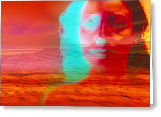 Desert Psychological Greeting Cards - Artwork Of Depressed Woman With A Barren Landscape Greeting Card by David Gifford