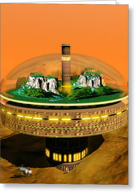 Colonisation Greeting Cards - Artwork Of Futuristic Colony On An Alien Landscape Greeting Card by Victor Habbick Visions