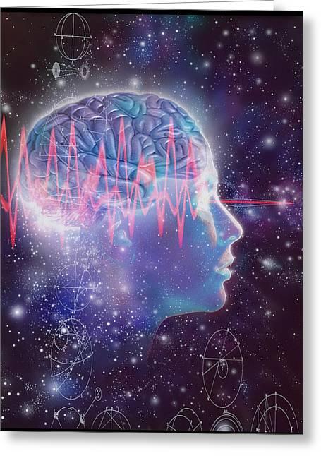 Eeg Greeting Cards - Artwork Of Human Head With Brain & Eeg Brainwaves Greeting Card by Mehau Kulyk
