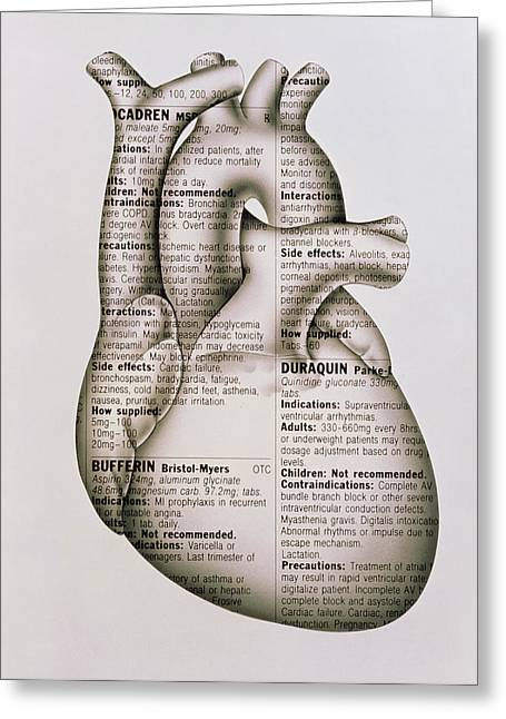 Heart Disease Greeting Cards - Artwork Of Human Heart Wrapped In Drug Information Greeting Card by John Bavosi