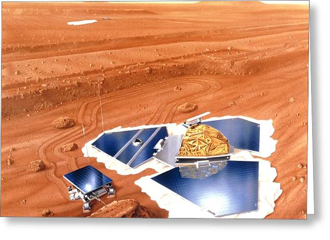 Pathfinder Greeting Cards - Artwork Of Mars Pathfinder After Landing On Mars Greeting Card by Nasa