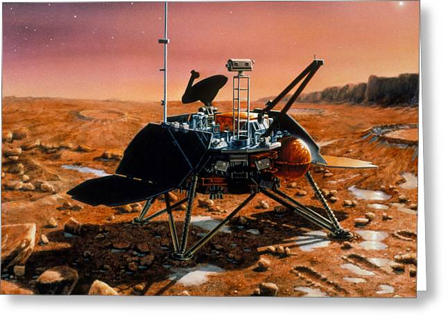 Land Surveyor Greeting Cards - Artwork Of Mars Polar Lander On Surface Of Mars Greeting Card by Nasavrs