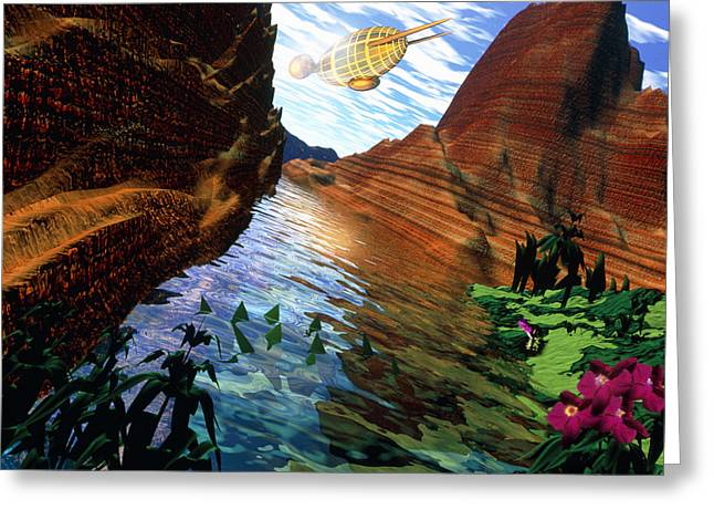 Colonisation Greeting Cards - Artwork Of Mars Surface After Terraforming Greeting Card by Victor Habbick Visions