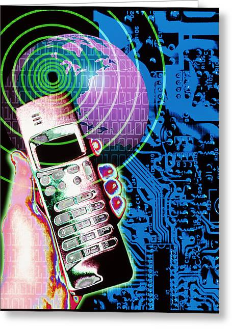 Artwork Of Mobile Telephone, Globe & Circuit Board Greeting Card by Victor Habbick Visions