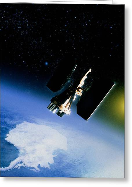 Nimbus Greeting Cards - Artwork Of Nimbus-7 In Orbit Over Antarctica Greeting Card by Julian Baum